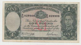 AUSTRALIA 1 Pound 1942 VF+ Pick 26b 26 B - Tweede Wereldoorlog Uitgaven