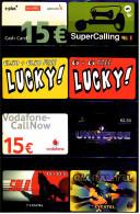 8 Verschiedene Prepaid Card Telefonkarten - 2 X Lucky!  -  2 X Lycatel  - E-plus  -  Vodafone  -  Universe  (2) - Telefonkarten