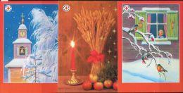 PA1405 Oran 2008 Christmas Wheat Church 3v Postcard MNH - Aland