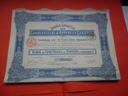 CARBURATEURS CLAUDEL (capital 8,55 Millions) 1924 - Actions & Titres