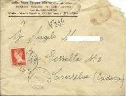 Da Roma A Conselve Padova 1,75 Imperiale Isolato  Ann. Ambulante Busta Lettera Intestata Rupe Tarpea Grotte Enotria - 1900-44 Vittorio Emanuele III