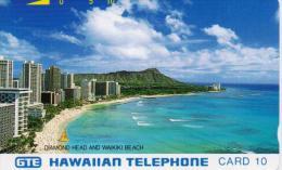 HAWAII TAMURA PHONECARD DIAMOND HEAD AND WAIKKI BEACH(SILVER BACK)-MINT - Hawaï