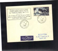 Aviation , Premier Service Aérien Direct  TAHITI / BORA BORA / PARIS Par  T.A.I.  1958 . - Aerei