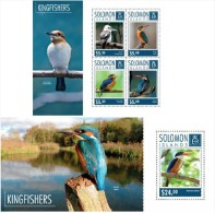 Solomon Island 2014 - Kingfishers Souvenir Set Official Issue Mnh - Birds