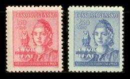 CZECHOSLOVAKIA 1945 MNH** - Students Congress, Owl - Mi 476-7, YT 418-9, Sc B154-5 - Owls