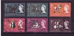 SOLOMON ISLANDS 1966 Odd Value Definit. Issue  Yvert Cat N° 133-34-37-40-41-43 Very Fine USED - Solomon Islands (1978-...)