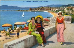 06.CANNES....... CPA...ANIMEE....FEMMES EN PYJAMAS.....1935.......LOT F1612.. - Cannes