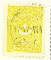 TURKEY  -  1923  Crescent And Star  20p  Used As Scan - 1921-... Republic