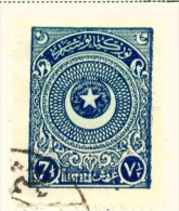 TURKEY  -  1923  Crescent And Star  71/2pi  Used As Scan - 1921-... Republic
