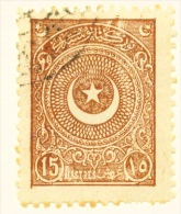 TURKEY  -  1923  Crescent And Star  15pi  Used As Scan - 1921-... Republic