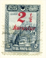 TURKEY  -  1929  Surcharge  21/2k On 5g  Used As Scan - 1921-... Republic