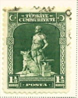 TURKEY  -  1929  Pictorial Definitive  11/2k  Used As Scan - 1921-... Republic