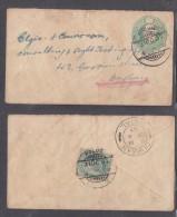 India Edward VII 1/2 Anna Envelope, Uprated By 1/2a, POLUS 31 OC 07 C.d.s. To DURBAN  NATAL DE 4 07; - India (...-1947)
