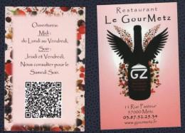 Carte De Visite Business Card Restaurant Gastronomique Metz - Visitenkarten