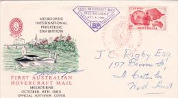 Australia 1963 First Hovercraft Mail Souvenir Cover - Australia