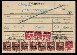 1967. Postfærge. 1 Kr. Brown. Overprint Type B In 7-strip And 4 Ex. 5 øre On Fragtbrev ... (Michel: PF34II) - JF104783 - Parcel Post