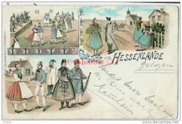 Lithokarte   Hessenlande  1898 Zugstempel  ( Köln - Giessen Zug 639 ) - Treinstempel ,kleinrond Enschede - Duitsland