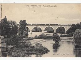 72- Noyen Pont Du Chemin De Fer Deux Cartes Noir Et Blanc Et Colorisee - Otros Municipios