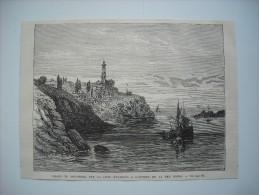 GRAVURE 1877. PHARE DU BOSPHORE, SUR LA COTE D'EUROPE, A L'ENTREE DE LA MER NOIRE. - Stiche & Gravuren