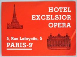 HOTEL AUBERGE MOTEL EXCELSIOR OPERA PARIS FRANCE DECAL STICKER VINTAGE LUGGAGE LABEL ETIQUETTE AUFKLEBER - Hotel Labels