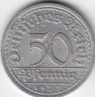 Weimarer Republik 50 Pf.1922 A - [ 3] 1918-1933: Weimarer Republik