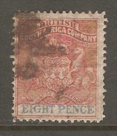 RHODESIA    Scott  # 8  VF USED - Great Britain (former Colonies & Protectorates)