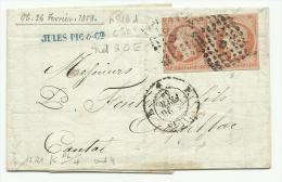Paire Du N° 16d Type 2 Sur Lettre De Paris Pour Aurillac 1858 - 1849-1876: Classic Period