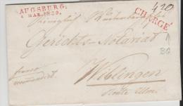 Bay284/  Bayern, Augsburg 1839 Mit B. Grenz Chargé Nach Württemberg - Duitsland