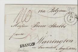 Pre017/ PREUSSEN -  Deutz Nach England (Warrington)   1843 ( Franco  ü Aachen,  Merle - Duitsland
