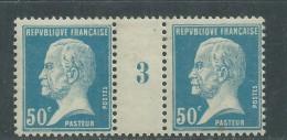 France N° 176 XX  Type Pasteur 50 C. Bleu  En Paire  Millésime 3 ; Sans Charnière, TB - Millesimi
