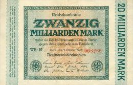 Deutschland, Germany - 20 Mrd. Mark, Reichsbanknote, Ro. 115 B ,  ( Serie WB ) 1923 ! - [ 3] 1918-1933 : Repubblica  Di Weimar