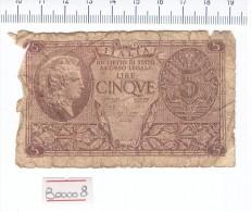 5 Lire Regno D´italia - Banconota Banknote - [ 1] …-1946 : Kingdom