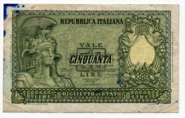 1951 - 50 Lire Italia - Banconota Banknote - [ 2] 1946-… : Républic