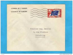 MARCOPHILIE-lettre Du Conseil De L´europe Strasbourg -stamp Service 35frs N°20 Cad CE 13 Oct 1958 - Lettres & Documents