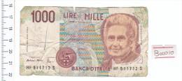 1990 - 1000 Lire Montessori - Italia - Banconota Banknote - [ 2] 1946-… : République