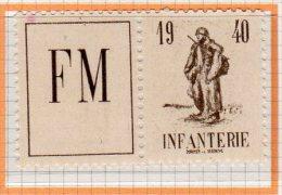 N° 10A -neuf** -FM Vignette Infanterie 1940 - France - Franchise Stamps