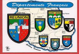 Carte Contour Géographique De L'ILE DE LA REUNION - La Réunion