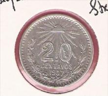MEXICO 20 CENTAVOS 1907 STRAIGHT 7  SILVER KM435 - Mexique