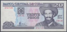 2002-BK-2 CUBA 20$ CAMILO CIENFUEGOS. ERROR IMPRESO SOLO ANVERSO. REVERSO EN BLANCO. RARO. UNC. - Cuba