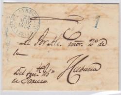 PREFI-80. Cuba España Spain. Prefilatelia Stampless. Baeza Jaruco Azul.1854. - Cuba