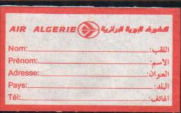 Air Algerie- Ticket De Bagages - Étiquettes à Bagages
