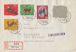 Bund R-Brief Isny 20.9.66 Schwärzung Gel. In DDR Postkrieg Vignette - BRD