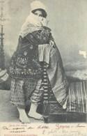 TURKEY - SMYRNE - JEUNE FILLE TURQUE - PM 1907 - STAMPS ON BACK - UNDIVIDED BACK - VINTAGE ORIGINAL POSTCARD - Türkei
