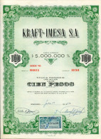 """URUGUAY ACCIONES SHAREHOLDING TITRES N°30204 """"KRAFT-IMESA S.A"""" YEAR 1952 100 PESOS WITH STAMPS TBE GECKO"""
