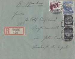 DR R-Brief Mif Minr.2x 512,582,585 Nauendorf (Saalkreis) 29.7.35 - Germany