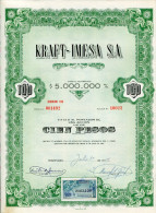 """URUGUAY ACCIONES SHAREHOLDING TITRES N°10022 """"KRAFT-IMESA S.A"""" YEAR 1951 100 PESOS WITH STAMPS TBE GECKO - Industrie"""