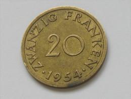 20 Franken 1954 - SARRE - Saarland **** EN ACHAT IMMEDIAT *** - Sarre