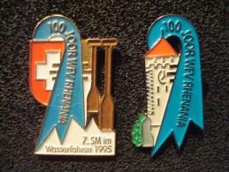 CANOË . WFV RHENANIA . 1995 CENTENAIRE DU CLUB ST JOHANN . BALE . 2 Pin's Numérotés - Canoë