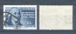 AÑO 1956 BENJAMIN FRANKLIN 250 AÑOS DE SU NACIMIENTO ARGENTINA ARGENTINE COLOR PIZARRA USED