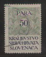 YUGOSLAVIA 1920 GENERAL REVENUE ISSUE FOR THE KINGDOM 50 PARA  GREEN & BLUE  USED BF#027 - Usati